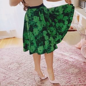 Anthropologie green floral skirt